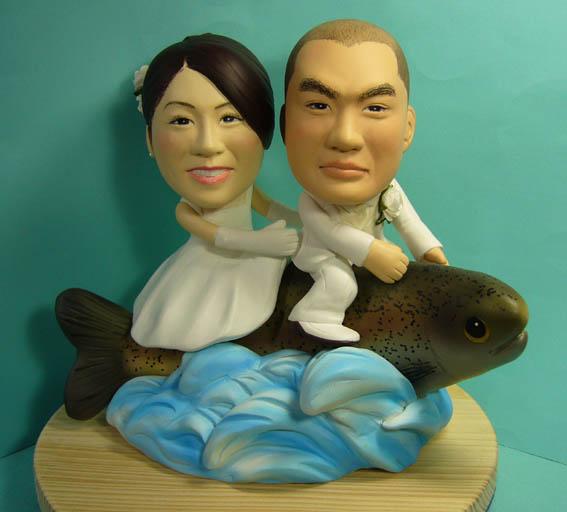 そっくり人形参考作品34-1ウェルカムドール ニジマスに乗って