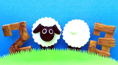 年賀状用オリジナル干支人形-羊(ひつじ)-1