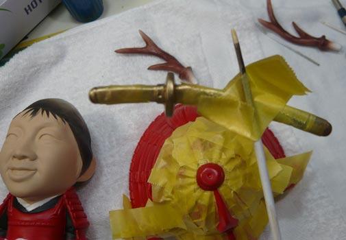 真田幸村風の赤備え甲冑(武者人形)!!五月人形の制作過程-55