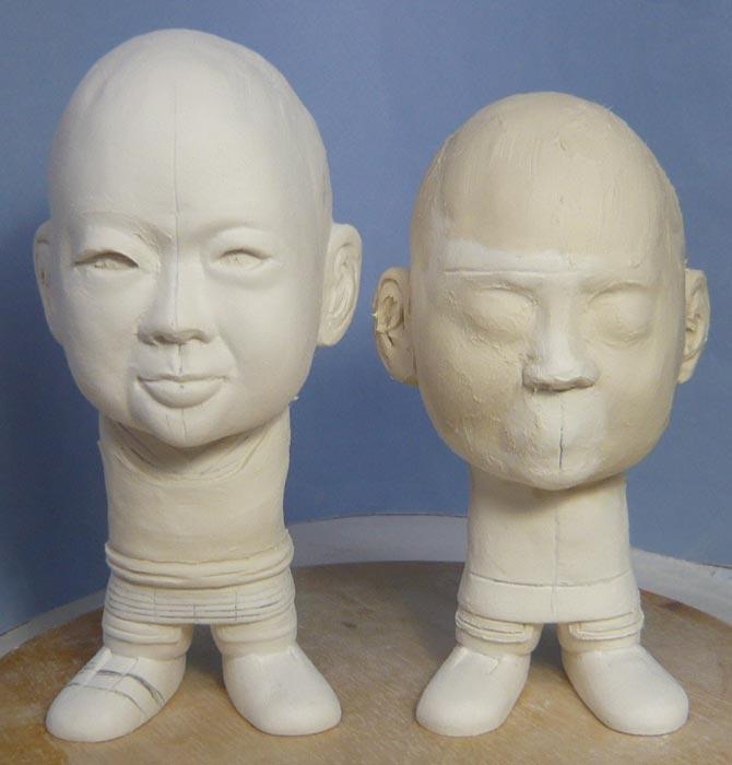 ご兄弟揃っての節句人形!!坊主あたまの可愛い武者鎧姿の制作過程-22