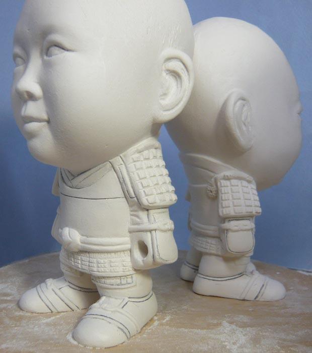 ご兄弟揃っての節句人形!!坊主あたまの可愛い武者鎧姿の制作過程-45